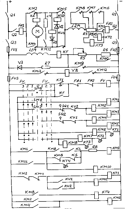 Рис.  Д.1 Схема управления двигателем постоянного тока. динамическим (КМ11 включен) и механическим (КМ12 отключен)...