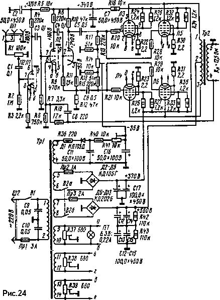 Рисунок 24 Принципиальная схема лампового усилителя на 100 Вт В.Шушурина.