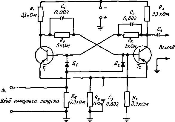 На рис. 8.1 показана одна из схем построения триггера на двух р - n - р-транзисторах.  В этой схеме к двум...