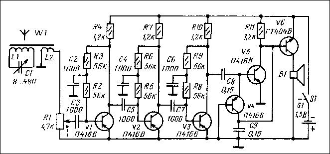 Приемник прямого усиления на 6 транзисторах с низковольтным питанием.