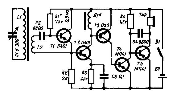 При сборке приемника следует учесть, что транзисторы Т1-ТЗ должны иметь коэффициент...  Оглавление.