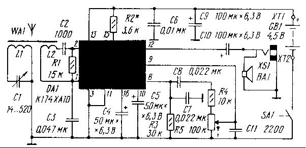 Радиоприемник на микросхеме 174ХА10.