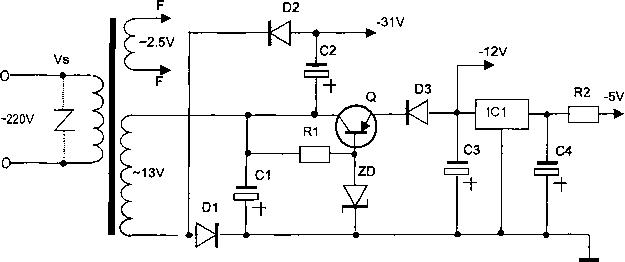 Рис. 2.70.  Типовая схема питания блока управления микроволновой печи.