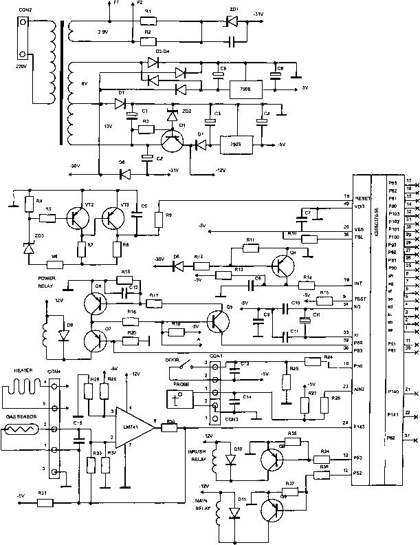 Принципиальная электрическая схема блока управления микроволновой печи МХ245 Samsung.