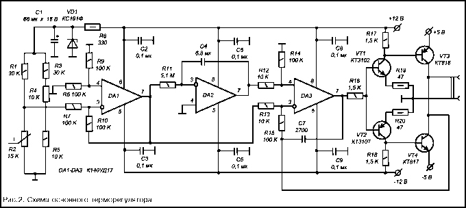 Схема содержит три каскада, выполненные на ОУ: DA1, DA2 и DA3 соответственно (в качестве ОУ используются К140УД17Б).